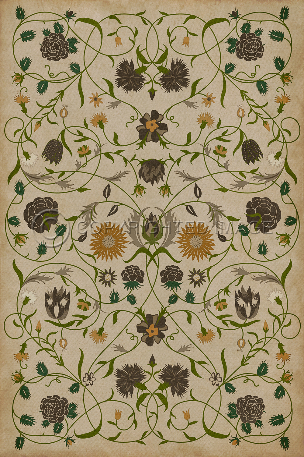 Williamsburg Floorcloth Floral Martha Alex Pifer S The